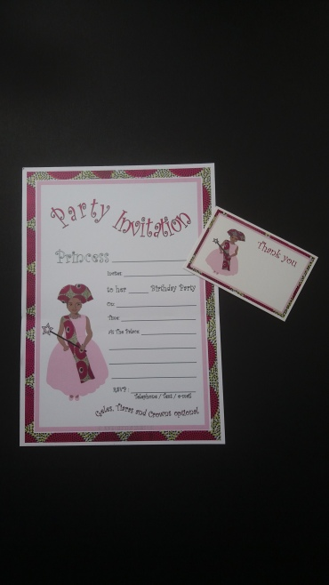 Afrocentric princess birthday invitation and thank you card - African inspired - pack of 10