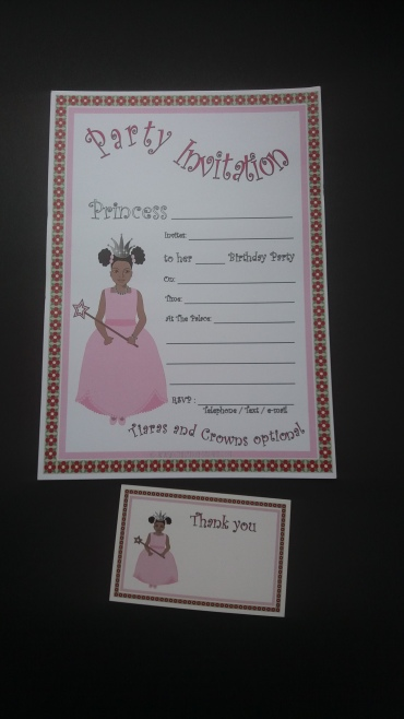 Afrocentric princess birthday party invitation and thank you card for black girls - pack of 10