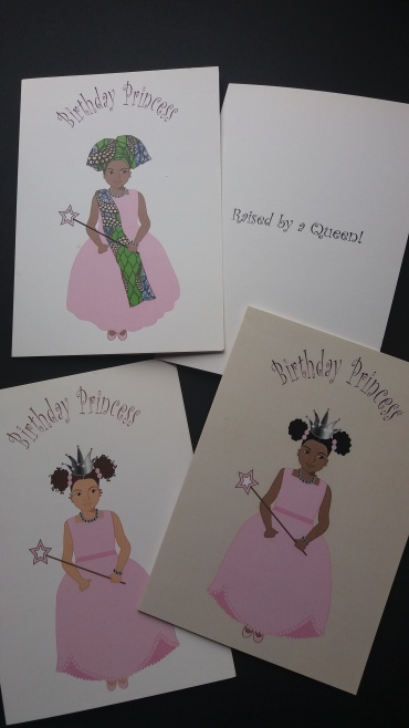 Birthday princess cards for black or mixed race girls