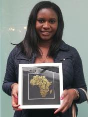Gold foil Africa map